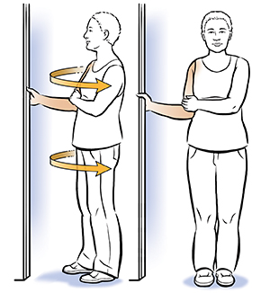 Woman standing facing doorway. One arm is bent, hand holding on to doorway. Other hand is across body holding bent elbow. Arrows show woman turning to side, continuing to hold doorway.
