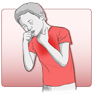 Boy in a red shirt having trouble breathing.