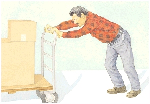 Image of man bending over too far to push a cart